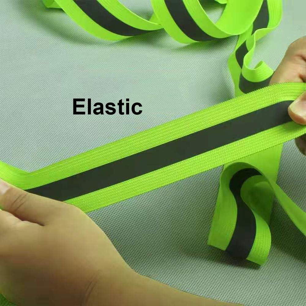 YSSAFE Fluorescent ReflectiveTape//Flame Fire Retardant Fabric Tape//Reflective Webbing Tape//Elastic Warning Safety//Rainbow Reflective Piping Fabric Strip