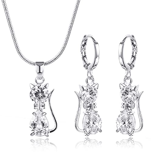 47da7f7d163d CARSINEL Blanco Oro Plateado Gato Colgante Collar y Pendientes Set de Joyas  para Mujer