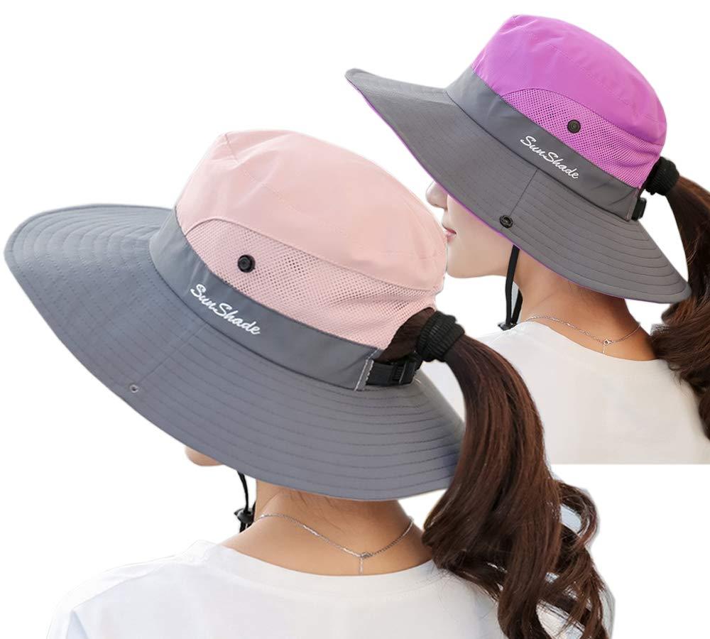 Lightbird Women's Ponytail Sun Hat,Adjustable Mesh UV Protection Bucket Hat