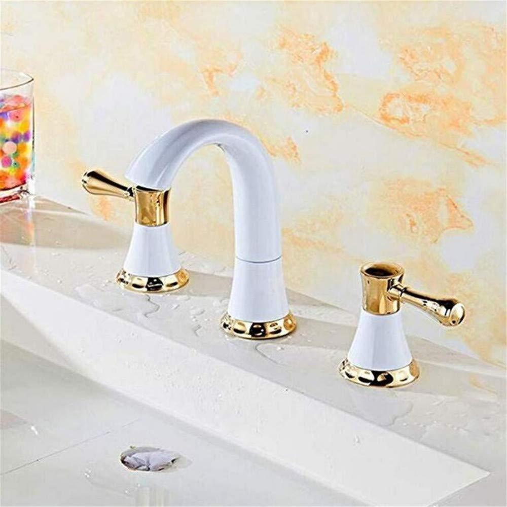 Luxus Überzogene Mischerhahn Goldener Kupfer-Split-Wasserhahn Drei-Loch-Split 8-Zoll-Becken-Wasserhahn Mit Heißem Und Kaltem Doppelhahn