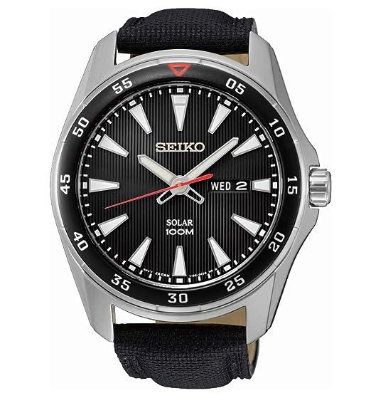 Seiko SNE393P2 - Reloj Analógico de Cuarzo para Hombre con Correa de Tela: Amazon.es: Relojes
