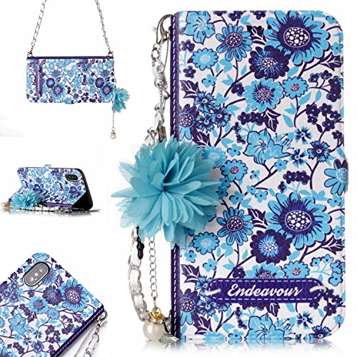 Flower Power Leather - iPhone X Case,iPhone 10 CaseDAMONDY 3D Flowers Stand Wallet Purse Card Slot ID Holders Design Flip Cover Chain Strap Pocket Purse Leather Magnetic Protective for Apple iPhone X (2017)-qin hua