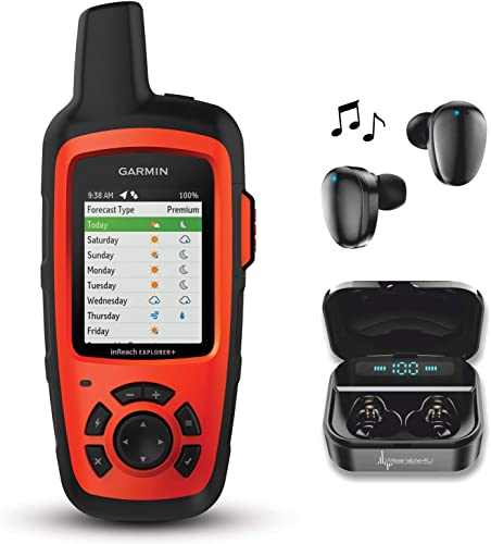 Garmin InReach Explorer Handheld Satellite Communicator with GPS Navigation, Maps, and Sensors 010-01735-10 and Wearable4U Black Earbuds Ultimate Charging Power Bank Case Bundle
