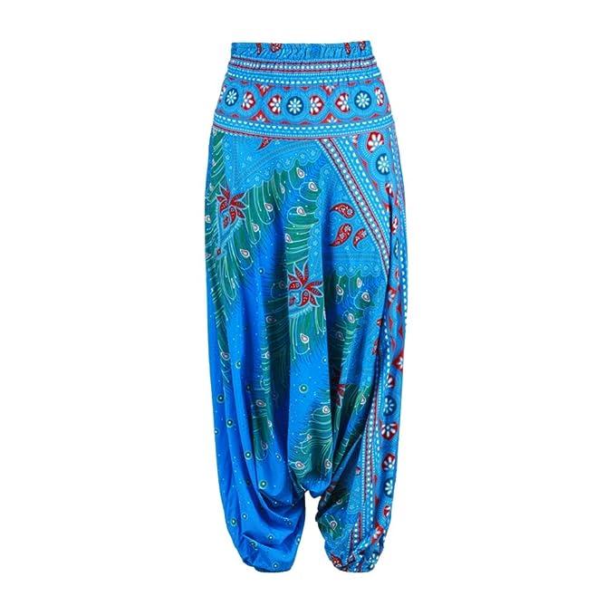 ESHOO Pantalones de Las Mujeres Pantalones de Yoga, Super Suave Nacional Estilo Yoga Pilates pantalón Bombacho, Danza del Vientre