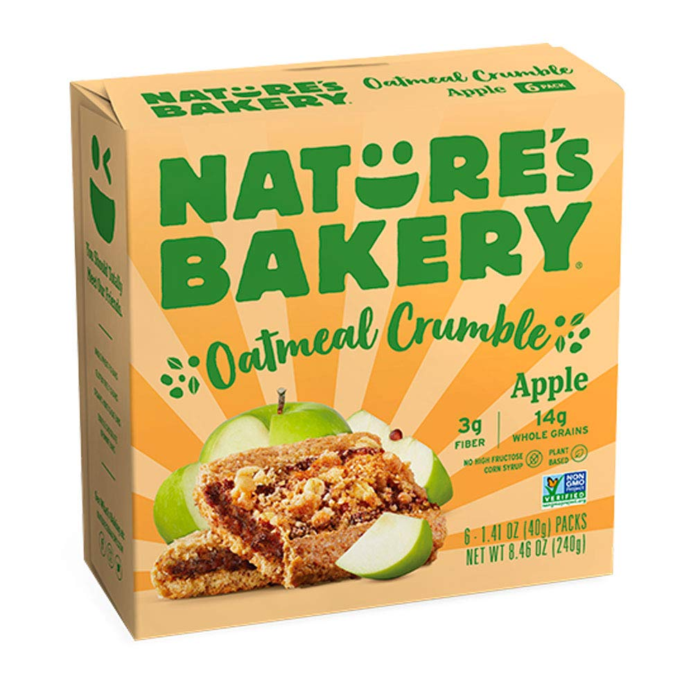 Nature's Bakery Nature's Bakery Oatmeal Crumble Bars, Apple, Real Fruit, Vegan, Non-Gmo, Breakfast bar, 1 Box With 6 Bars, 6Count