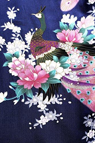 ArtiDeco Vestido Kimono Pijama de Seda Novia Kimono de Seda Ropa de dormir de Satén Estampado Pavo Real Azul