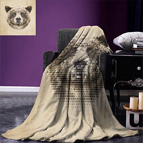smallbeefly Bear Digital Printing Blanket Wild Animal Head with Hexagonal Dots Blurry Looking Portrait Vintage Geometric Modern Summer Quilt Comforter Tan Brown