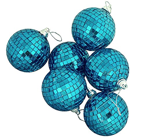 "picture of 6ct Regal Peacock Blue Mirrored Glass Disco Ball Christmas Ornaments 3.25"" 80mm"