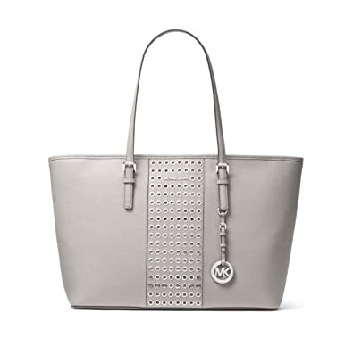 d3c6526f6db7 MICHAEL Michael Kors Jet Set Travel Grommet Saffiano Leather Tote in Pearl  Grey: Amazon.co.uk: Shoes & Bags