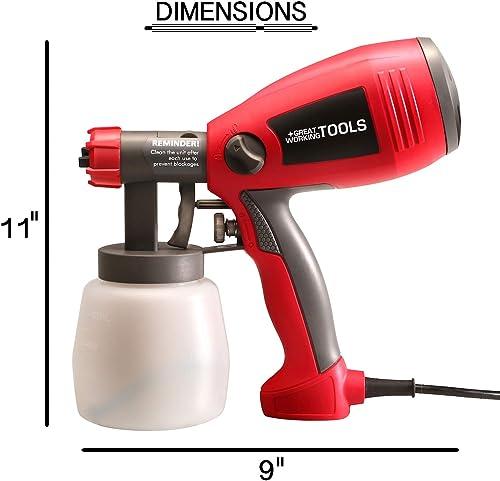 Great Working Tools Paint Sprayer, 400 Watt Power Home Spray Gun for Paint Stain Crafts Home Improvement Hand-Held Light Weight