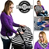 Nursing breastfeeding cover scarf Multi-Use Infinity Stretchy Shawl rayon black and white stripe - Best Reviews Guide