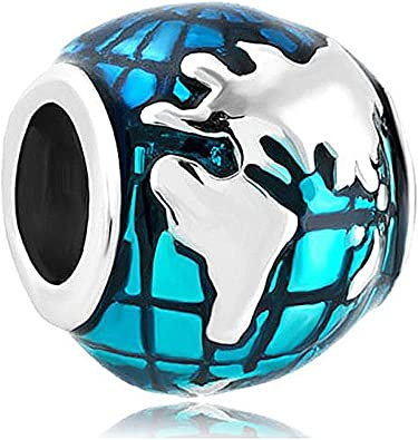Creationtop Fit Pandora Charms Silver Plated Ocean Blue Earth World Globe  Charm Sale Cheap Beads European Charms Bracelet Gifts