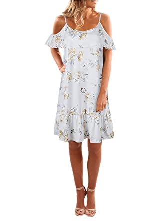 a88775f80956 Nituyy Women s Floral Ruffle Off The Shoulder Spaghetti Strap Summer Shift  Dress (White
