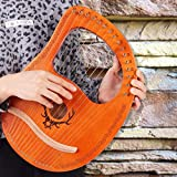 Lyre Harp,16 String Mahogany Lyre Instrument with