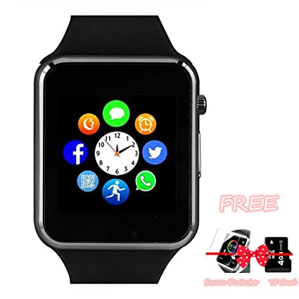Smart Watch Phone, Smartwatch with Camera TF Card Pedometer SIM Card Slot Music Player Compatible for iOS iPhone (Partial Functions) and Android Phone ...
