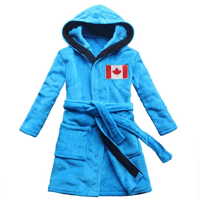 feetoo Canada Flag Embroidered boy Bathrobe Coral Velvet Free Embroidered  Name (6 4d4ea3cfc