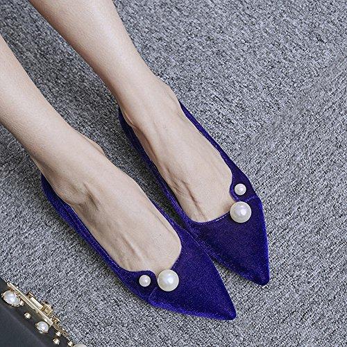 Carolbar Womens Mocassins Puntschoen Manchet Gerolde Loafers Schoenen Blauw
