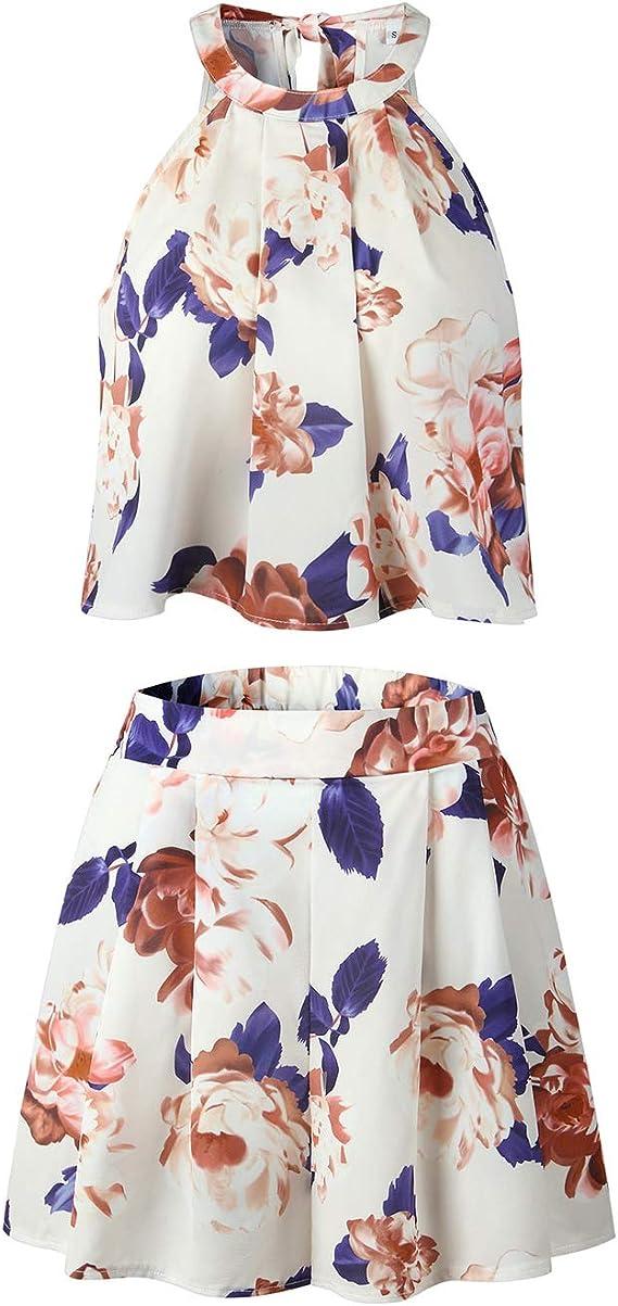 LitBud Femme D/ét/é Imprimer Combinaison Barboteuse pour Les F/êtes Dames Imprim/é Floral Combinaisons et Combishorts Dos Nu Jumpsuits Ensemble 2 PCS Tenues Haut avec des