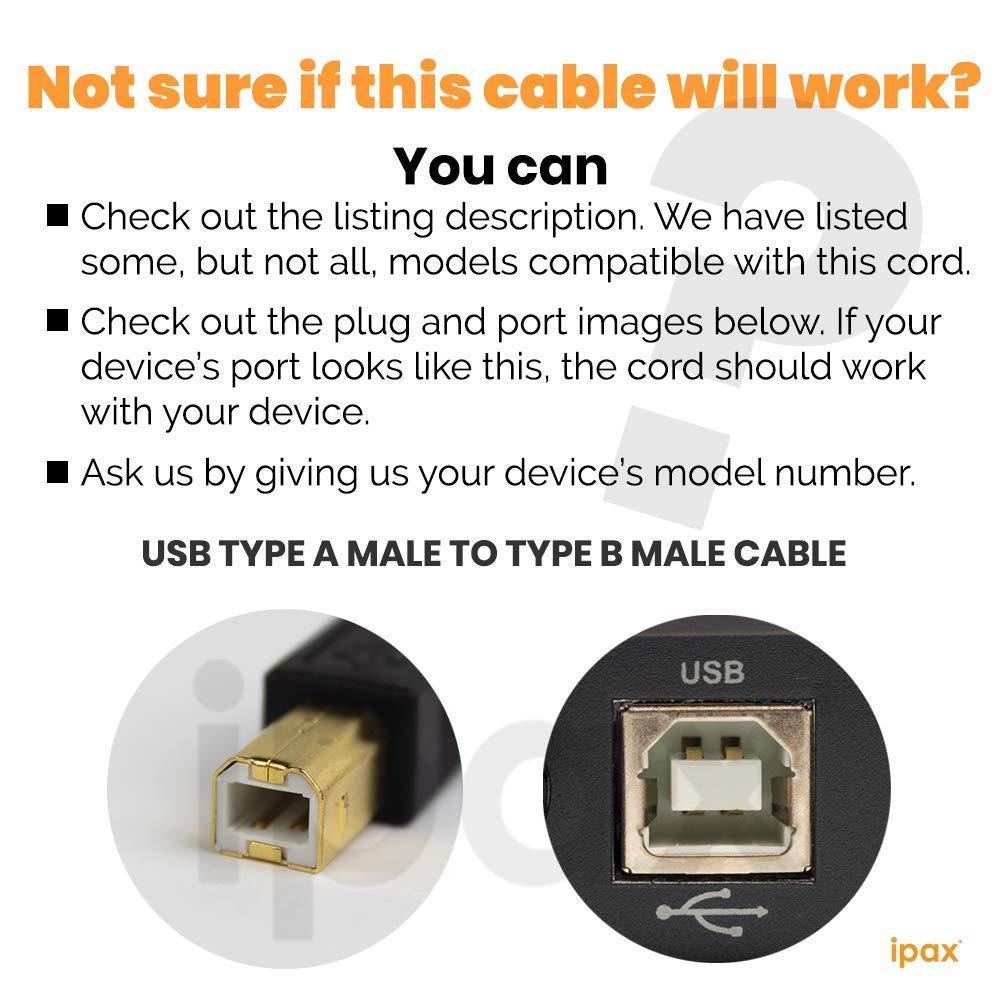 Ipax - Cable USB de alta velocidad compatible con HP Officejet ...