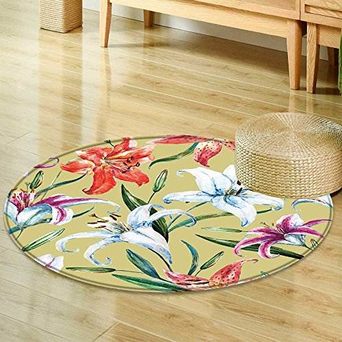 Small Round Rug Carpet Watercolor Flower Pattern Floral Pattern White and Orange Lily Plant Wallpapers Door mat Indoors Bathroom Mats  Non Slip -Round 63
