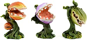 """Miniature Garden Venus Fly Trap Set of Three """"Little Shop of Horrors"""" inspired Resin Plants"""