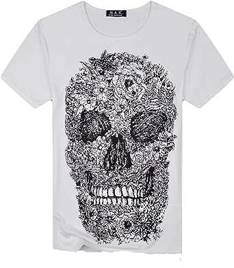 Camiseta de Manga Corta para Hombre a la Moda, Camisa Elegante Slim Fit de Manga Corta con Estampado de Calavera Scont Verano Blanco XXL: Amazon.es: Ropa y accesorios