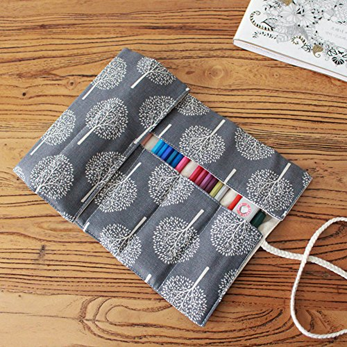Small Tree OLizee Canvas Ink Pen Drawing Pencils Wrap Roll Case Bag Organizer Pouch Travel Multi-purpose Holder 72 holes Colored for Students Artist Hobbyist No Pencil Included