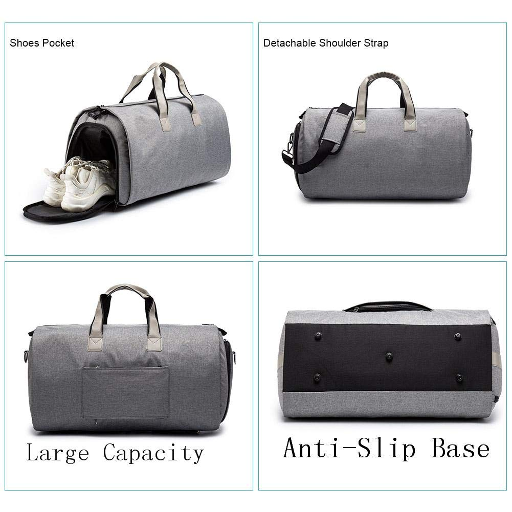 Convertible Carry On Suit Gym Bag with Shoes Compartment for Men Women, Black Eachbid 2 in 1 Garment Duffle Bag,with Shoulder Strap