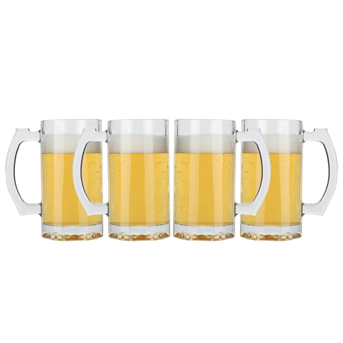 Lily's Home Classic Beer Stein Glasses, Thick Bottoms and Handles, Also Work Great for Root Beer Floats or Lemonade (16 oz. Each, Set of 4) SW1049