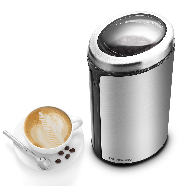Coffee Grinder - Taucken Ultimate Electric Coffee Grinder, Coffee Bean Grinder Stainless Steel Blade Coffee Grinding Coffee Beans. Durable & Portable Stainless Steel Blades Grinder