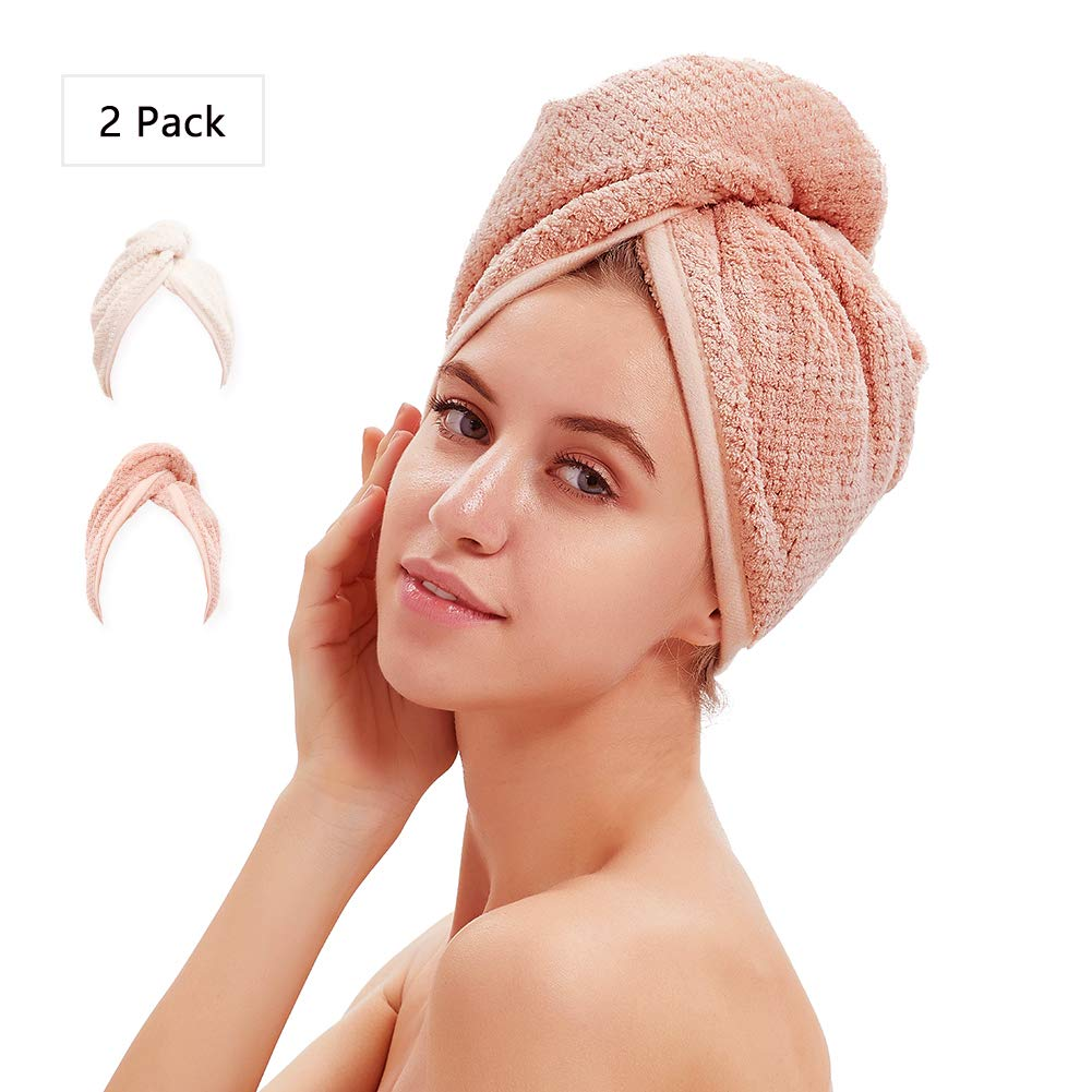 M-bestl Hair Drying Towels, Hair Wrap Towels, Super Absorbent Microfiber Hair Towel Turban with Button Design to Dry Hair Quickly (2 Pack)