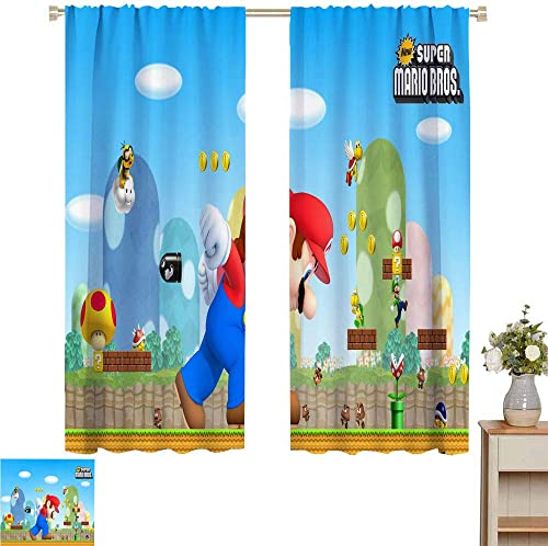Super Mario Printed Curtain Curtains 84 inch Length 2 Panel Sets New Mario bros W72 x L84 Inch