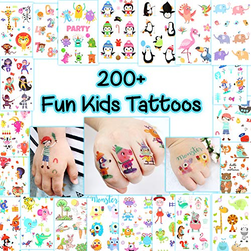 Kid's Fun Temporary Tattoos - More Than 200 Animal-Themed Easy-to-Use Tattoos for Children (21 Sheets) -