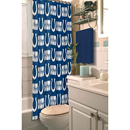 1 Piece Blue White NFL Indianapolis Colts Football Sports Themed Shower Curtain Polyester Detailed
