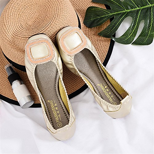 Comfort Rhinestone Toe Flats Shoes for Shoes Soft Women's 2018 Flat Heel Silver Bottom Square D Fall Microfiber Summer Casual Outdoor XYPYvw