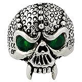 Serpentine Demon Skull Sterling Silver Green Cubic Zirconia Eyes