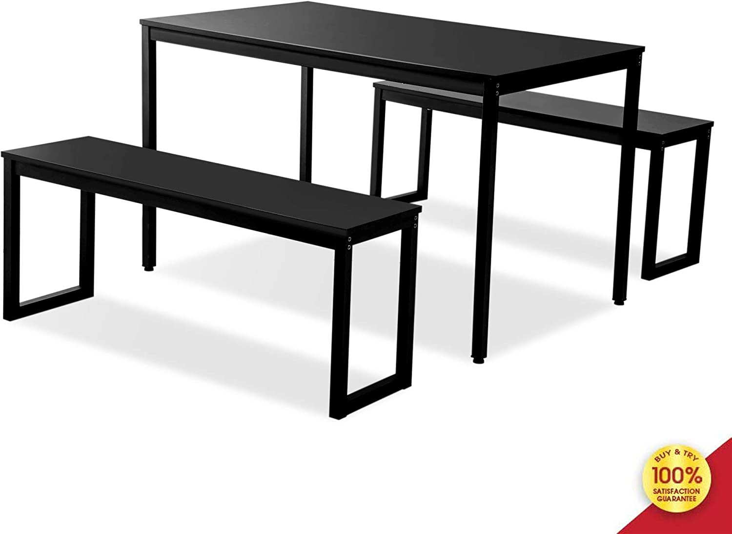 ALI VIRGO Piece Modern Soho Dining Set Kitchen Tables with Two Benches Contemporary Home Furniture, Steel Frame, Cool Black
