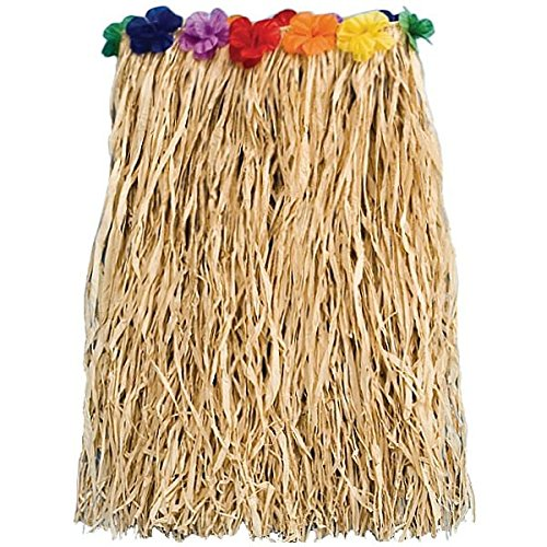 Amscan Adult Raffia Hula Party Skirt with Flowers, 28