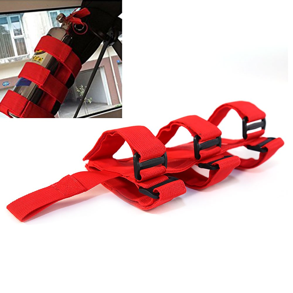 KIKIGOAL Adjustable Nylon Roll Bar Fire Extinguisher Holder For Jeep Wrangler CJ TJ JK (red)