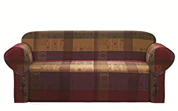 chezmoi collection gitano gold heavy duty jacquard couch sofa cover slipcover burgundy purple amazon    chezmoi collection gitano gold heavy duty jacquard      rh   amazon