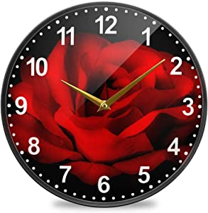 ALAZA Red Rose Flower Black Wall Clock Battery Operated Silent Non Ticking Clocks for Living Room Decor 12 Inch / 9.5 Inch