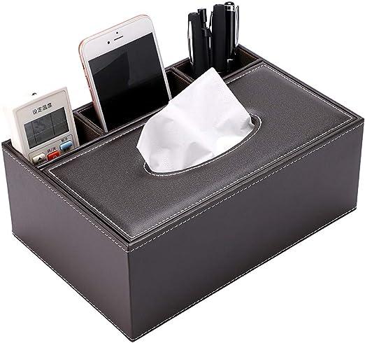 Multifunctional PU Leather Tissue Holder Desktop Storage Organizer Box Hotel Car