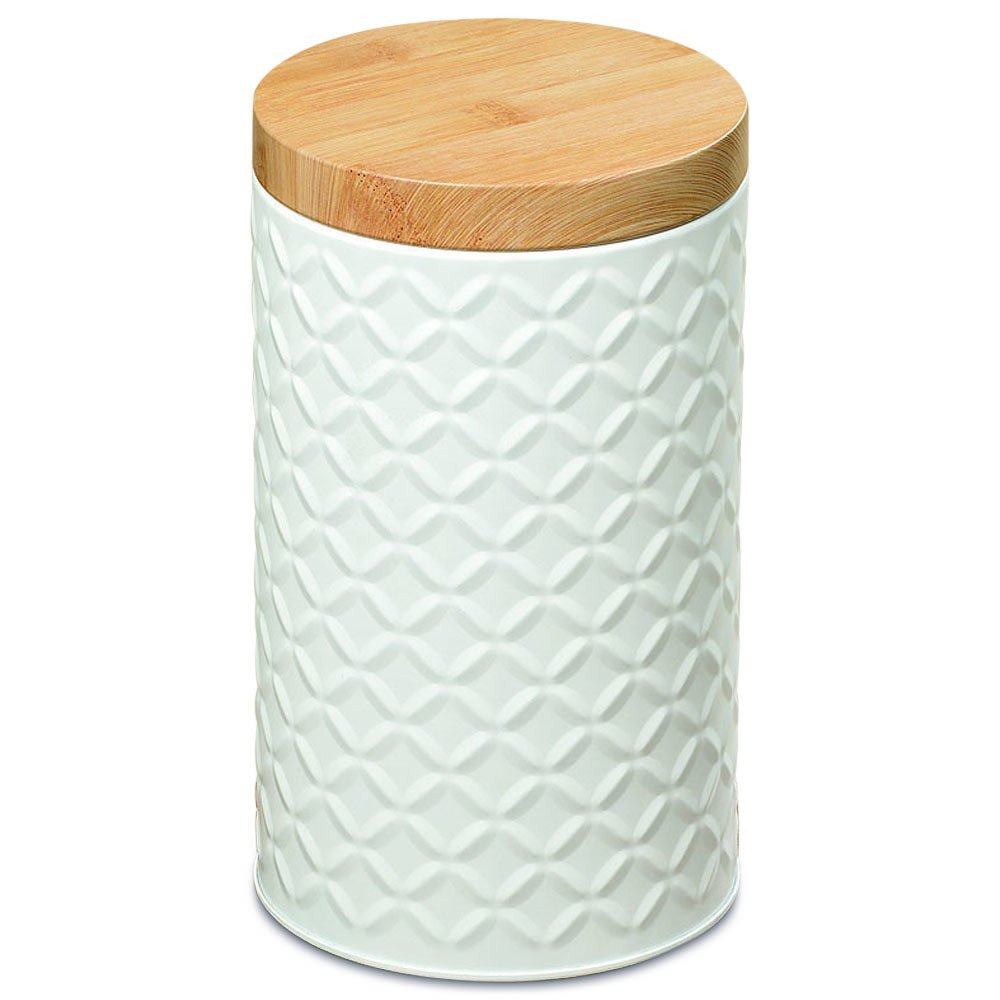 Whole House Worlds The Naturally Modern Cookie Cannister, Raised Ikat Pattern, White Metal, Wood Grained Lid, Air Tight, Food Safe, 7 1/2 Inches Tall, By