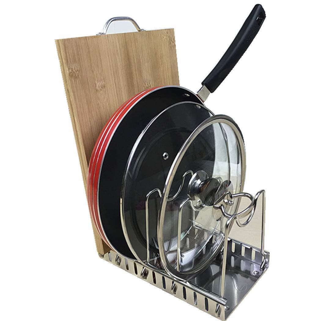 Adjustable Lid Holder, Wisfruit Expandable Lid Rack Kitchen Cookware Drain Rack Pan Pot Lid Plate Organizer Racks (5 Dividers)