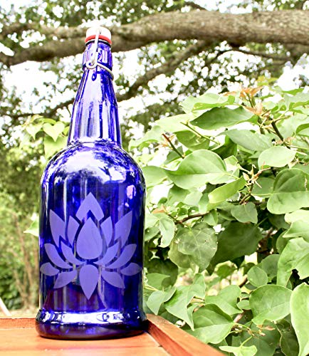 32oz. Lotus Flower Etched Cobalt Blue Glass Bottle With Swing-Top Lid (BLue Solar Water Bottle)