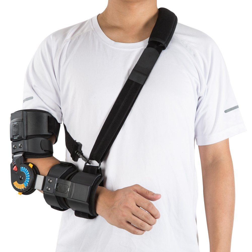 Hinged ROM Elbow Brace with Sling, Adjustable Post OP Elbow Brace Stabilizer Splint Arm Injury Recovery Support-Right