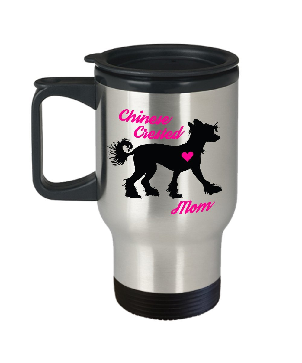 Chinese Crested Mom Travel Mug - Insulated Portable Coffee Cup With Handle And Lid For Dog Lovers - Perfect Christmas Gift Idea For Women - Novelty Animal Lover Quote Statement Accessories