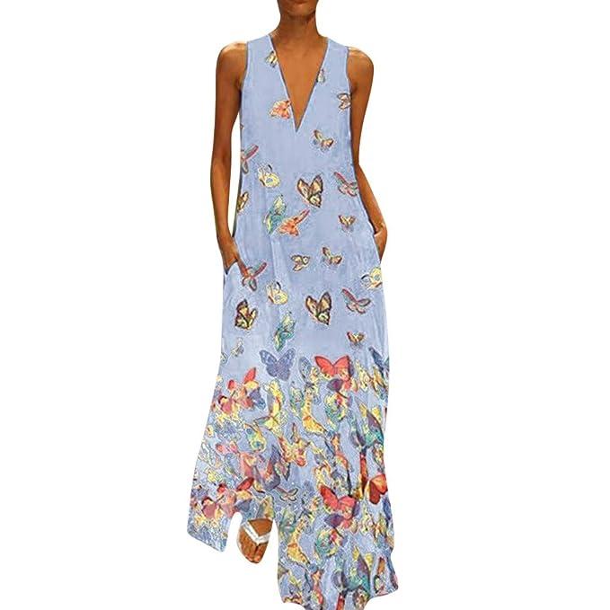 NREALY Vestido Womens Casual Casual Print Dress Sleeveless Loose Party Long Dress (S, Blue