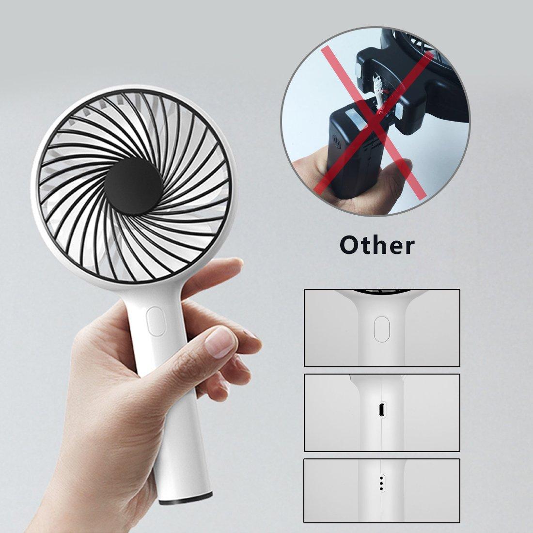 YKMY Mini Ventilador portátil de Mano con batería, Ventilador de refrigeración eléctrico, Ventilador Personal para el hogar, Oficina, Viajes al Aire Libre