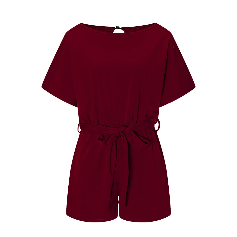 Yieune Damen Jumpsuit Elegant Sommer Kurzarm Overall Kurz Playsuit Romper Strand Suit